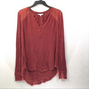 Lucky Brand Embroidered Ribbed Henley Knit Top